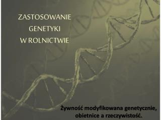 ZASTOSOWANIE  GENETYKI  W ROLNICTWIE