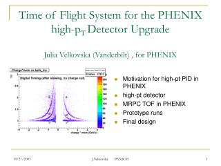 Motivation for high-pt PID in PHENIX high-pt detector MRPC TOF in PHENIX Prototype runs