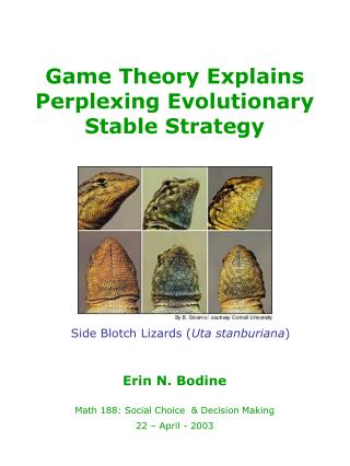 Game Theory Explains Perplexing Evolutionary Stable Strategy
