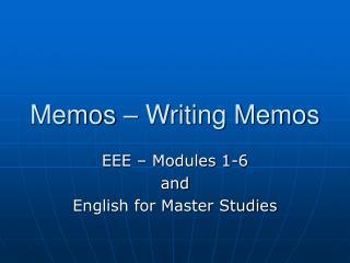 Memos   Writing Memos