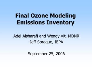 Final Ozone Modeling Emissions Inventory
