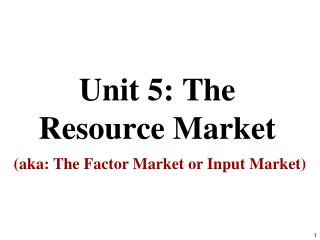 Unit 5: The Resource Market