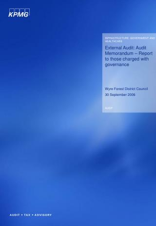 External Audit: Audit Memorandum   Report to those charged with governance