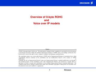 Overview of 0-byte ROHC  and  Voice over IP models