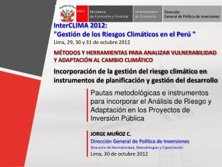 JORGE MUÑOZ C. Dirección General de Política de Inversiones