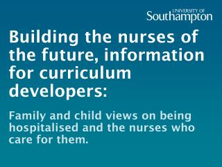 Building the nurses of the future, information for curriculum developers: