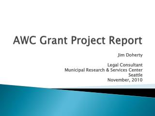 AWC Grant Project Report