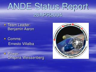 ANDE Status Report 26APR2004