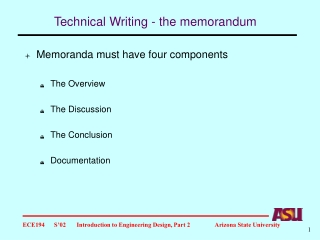 Technical Writing - the memorandum