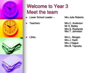 Welcome to Year 3 Meet the team