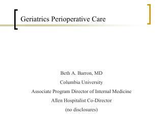 Geriatrics Perioperative Care