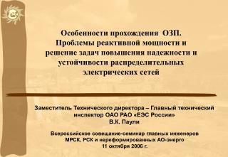 Заместитель Технического директора – Главный технический инспектор ОАО РАО «ЕЭС России» В.К. Паули