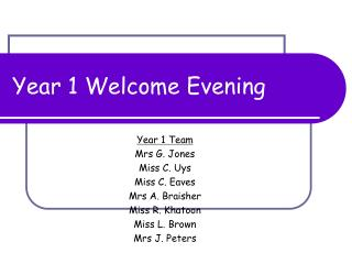 Year 1 Welcome Evening