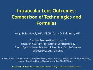 Intraocular Lens Outcomes: Comparison of Technologies and Formulas