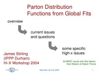 Parton Distribution Functions from Global Fits