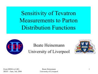 Sensitivity of Tevatron Measurements to Parton Distribution Functions