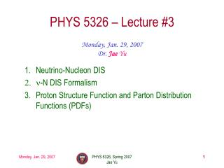 PHYS 5326 – Lecture #3