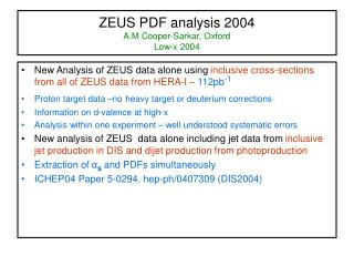 ZEUS PDF analysis 2004  A.M Cooper-Sarkar, Oxford Low-x 2004