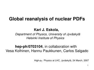 Global reanalysis of nuclear PDFs