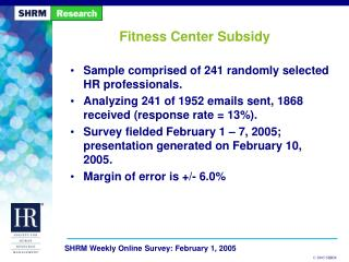 Fitness Center Subsidy