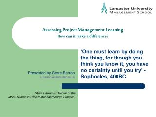 Assessing Project Management Learning How can it make a difference