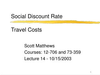 Social Discount Rate Travel Costs