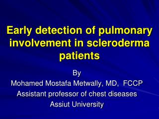 Early detection of pulmonary involvement in scleroderma  patients