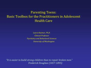 Parenting Teens: Basic Toolbox for the Practitioners in Adolescent Health Care