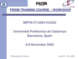 PRISM TRAINING COURSE – WORKSHOP