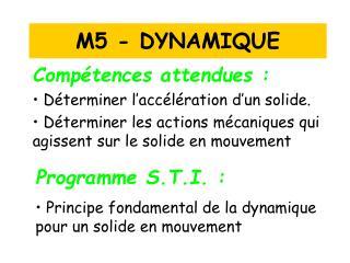 M5 - DYNAMIQUE