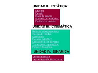 UNIDAD II.  ESTÁTICA