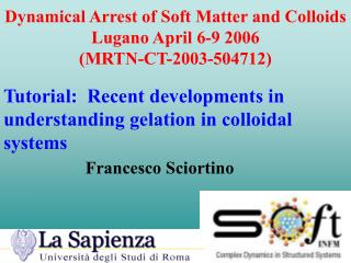 Dynamical Arrest of Soft Matter and Colloids Lugano April 6-9 2006 (MRTN-CT-2003-504712)
