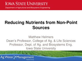 Reducing Nutrients from Non-Point Sources