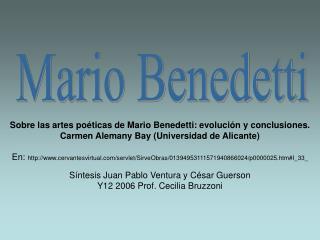 Sobre las artes poéticas de Mario Benedetti: evolución y conclusiones.