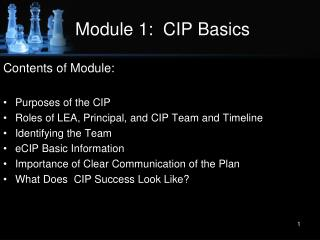 Module 1:  CIP Basics