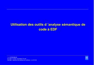 Utilisation des outils d  analyse s mantique de code   EDF