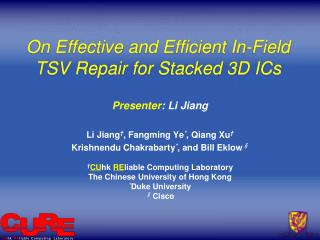 On Effective and Efficient In-Field TSV Repair for  Stacked  3D ICs