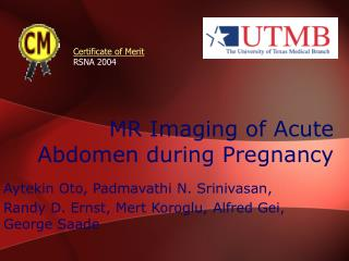 MR Imaging of Acute Abdomen during Pregnancy