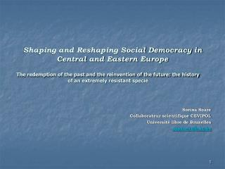 Shaping and Reshaping Social Democracy in Central and Eastern Europe