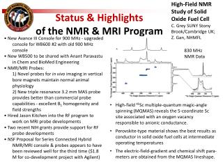 Status & Highlights  of the NMR & MRI Program