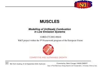 MUSCLES Modelling of UnSteady Combustion  in Low Emission Systems