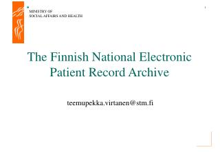The Finnish National Electronic Patient Record Archive