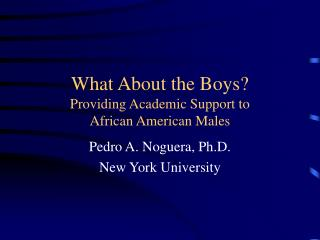 What About the Boys? Providing Academic Support to  African American Males