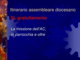 Itinerario assembleare diocesano