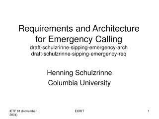 Henning Schulzrinne Columbia University