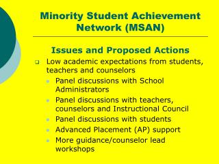 Minority Student Achievement Network (MSAN)