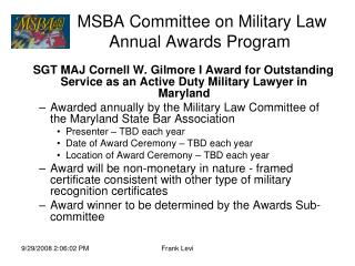 MSBA Committee on Military Law  Annual Awards Program