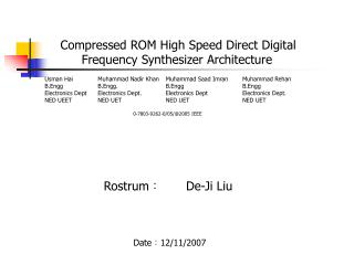 Compressed ROM High Speed Direct Digital Frequency Synthesizer Architecture
