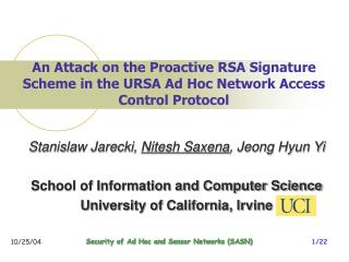 An Attack on the Proactive RSA Signature Scheme in the URSA Ad Hoc Network Access Control Protocol