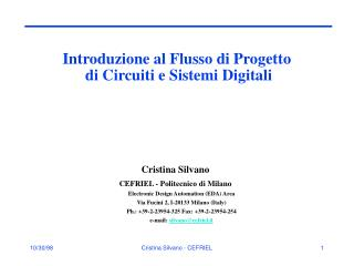Introduzione al Flusso di Progetto  di Circuiti e Sistemi Digitali